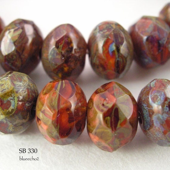 Picasso Czech Glass Beads Rondelle Old Brick (SB 330) blueecho  12 pcs