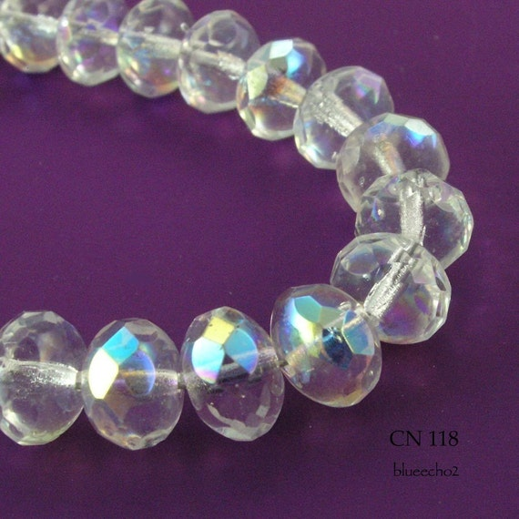 Czech Glass Beads Crystal AB Rondelle (CN 118) 12pcs BlueEchoBeads