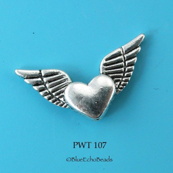 Pewter Beads Flying Heart (PWT 107) 10 pcs BlueEchoBeads