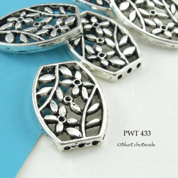 Large 26mm Floral Pewter Focal Bead Connector Pendant (PWT 433) blueecho 3 pcs