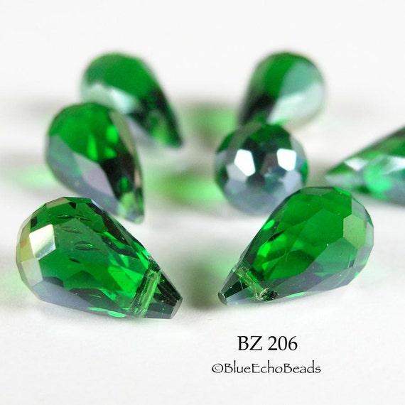 Faceted Glass Crystal 12mm Teardrop Beads Emerald Green Fire Polished (BZ 206) blueecho 6 pcs