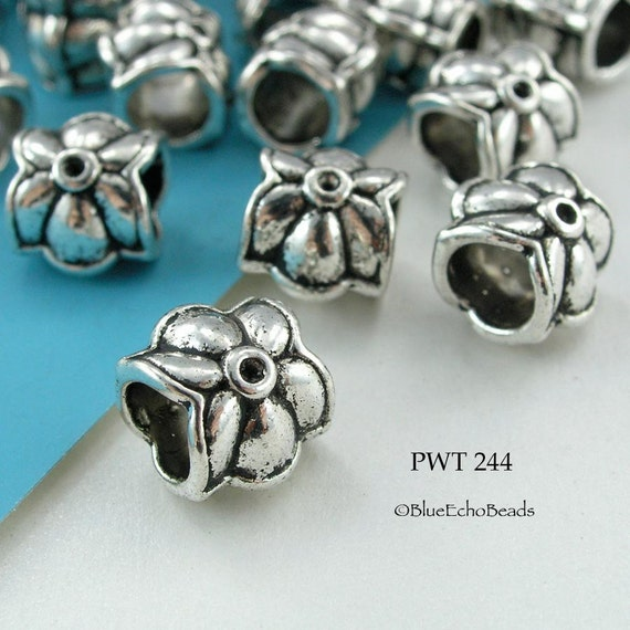 Large Hole Beads Pewter Tube Star Flower 10mm Antique Silver (PWT 244) 8 pcs BlueEchoBeads