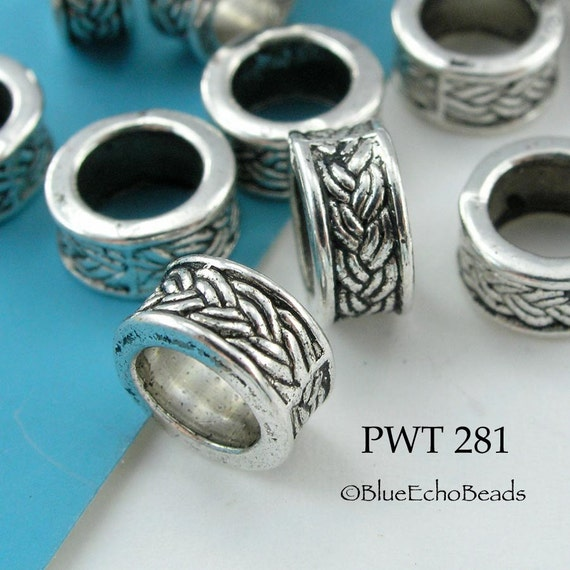 Large Hole Beads Pewter Ring Celtic Braid Antique Silver 9mm (PWT 281) 10 pcs BlueEchoBeads