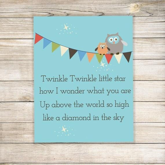 Twinkle Twinkle Little Star Nursery Print  Various Sizes Nursery Art