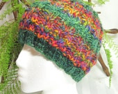 Handspun Cable Beanie. Handspun Yarn. Knit Hat. Beanies for Women. Hat for Women. Primary Colors. Green. Red. Yellow. Great Balls of Fiber.