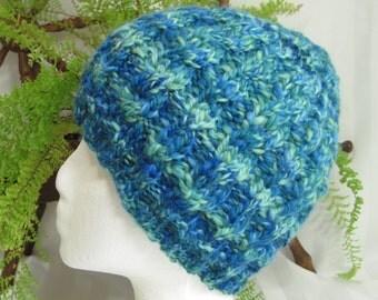 Handspun Cable Beanie. Handspun Yarn. Corriedale Wool. Tropical Waters. Self-Striping. Blue. Green.