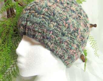 Handspun Cable Beanie. Dark Mossy Green. Light Mossy Green. Pale Peach. Knit Hat. Hand Knit. Wool Hat. Mountain Meadow. Beanies for Her.