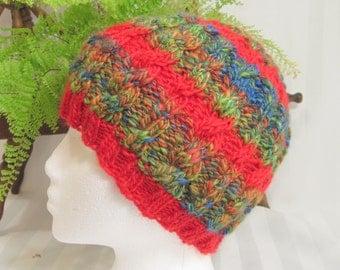 Emerald Green. Red. Half 'n Half Cable Beanie. Handspun Yarn. Merino Wool, Silk. Primary Colors Fun - Stripes. Monaco Blue. Joyful HandKnits