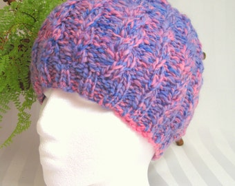 Handspun Cable Beanie. Handpun Yarn. Knit Hat. Wool Hat. Lavender and Pink. Beanies for Women. Womens Hats. Gifts for Women. Gifts for Her.