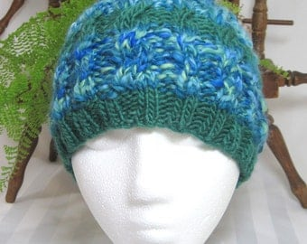 Blues and Greens Winter Hat. Cable Beanie. Knit Hat. Beanies for Men. Beanies for Women. Half Handspun Yarn. Half Wool Mohair Yarn. Emerald.