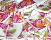 Bright Pink , Yellow, Lavender floral pattern handcut mosaic tiles from plates