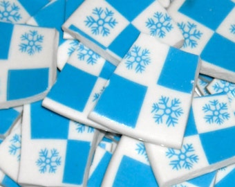 Blue and white snowflake handcut tiles for mosaics