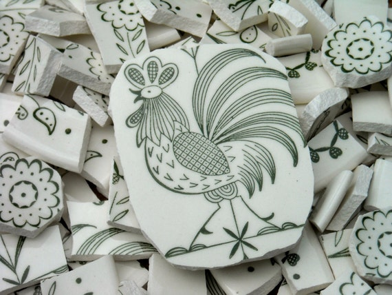 Hand cut mosaic tiles from  Rooster plates