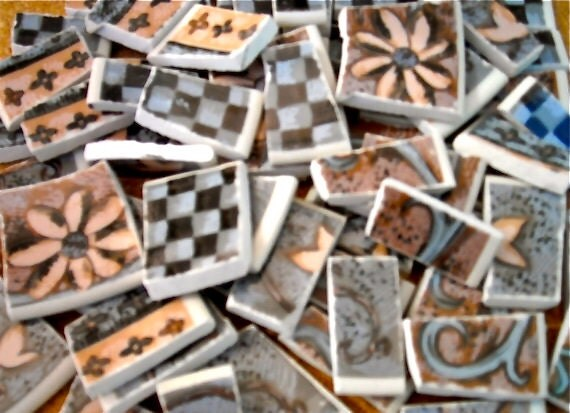 Retro Design  Mosaic tiles cut from plates