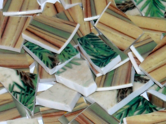 Earth tone stripe and palm Design Mosaic Tiles cut from plates S2
