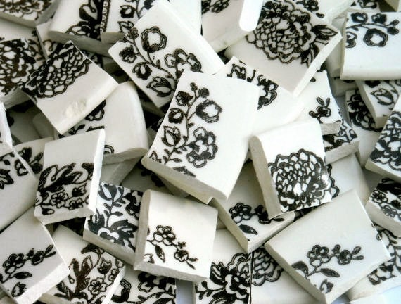 Vintage Chocolate Brown and White Floral Pattern Handcut tiles S1
