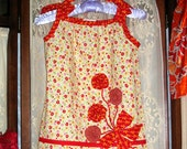 Girls Pillowcase Dress, fits 4 to 6, Red Yellow Floral-Bouquet Applique-The Whimsy Collection