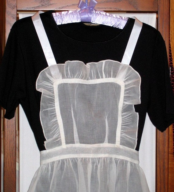 Vintage Organdy bib apron French Maid style Ruffled with Ruffled Satin Housemaid
