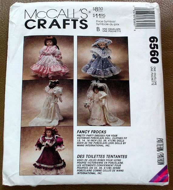 """Doll Clothes PATTERN, 3 Sizes-13-14-16""""-McCalls Crafts 6560- Victorian Party Dress/Bride"""