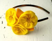 Another sunny day headband - yellow felt flowers with bead centers