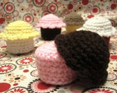 Crochet Cupcake Set - 6 Cupcakes with Removable Icing - Made to Order - Free Shipping