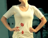 SALE Red Poppies, White Dress. Fine Jersey Short Sleeve Poppy T-Shirt Dress