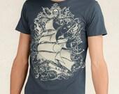 CLEARANCE SALE Pirate Ship T-shirt, Tall Ship, Sailing Ship Men's T-shirt Indigo Blue XL