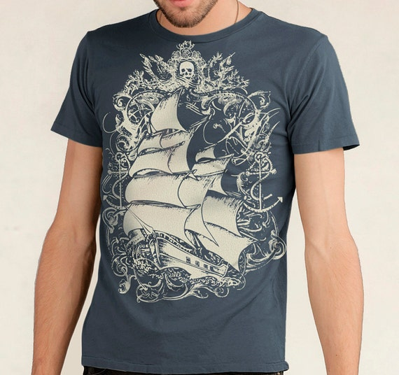 CLEARANCE SALE Pirate Ship T-shirt, Tall Ship, Sailing Ship Men's T-shirt Indigo Blue XL
