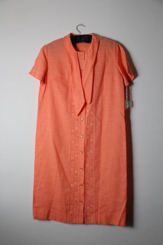 SALE 1960s Bright Orange Shift Dress