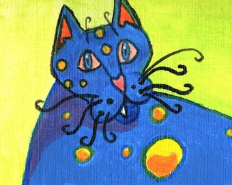 Cat art / kitten painting / kitty print / fat cat / bright blue / yellow orange spots / reproduction / 8x10 inch / P130