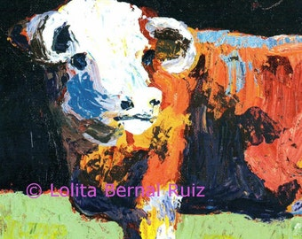 Cow art / heifer painting / steer / farm animal / reproduction / 11 x14 inch / P132