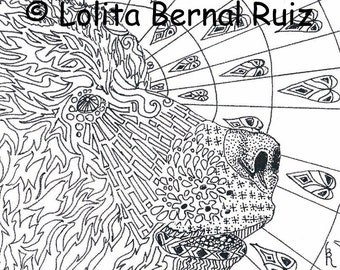 zentangle bear / grizzly drawing / doodle / wild animal / black and white / print / 8 x 10 inch / P104
