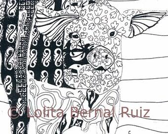 Pig art / zentangle piglets / ink illustration / line drawing / farm animal / doodle / black and white / 8x10 / P110