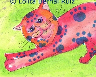 cat art / kitten painting / spotted cat print / stretching feline / red kitten / 8 x 10 / P125