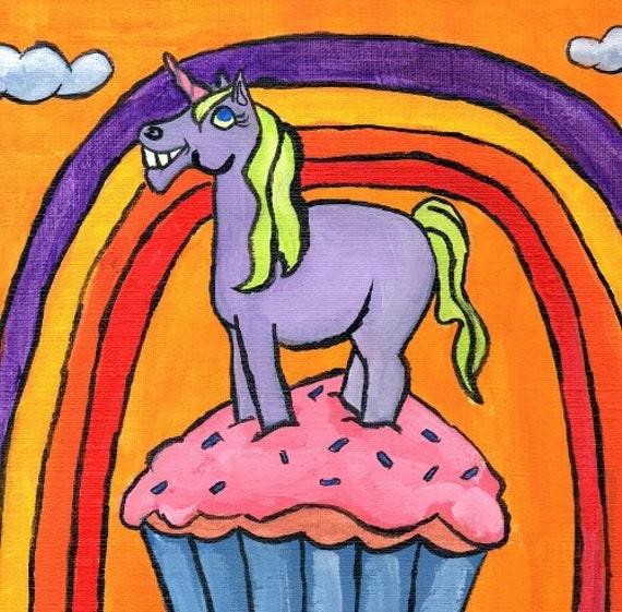 purple Unicorn painting / smiling unicorn / rainbow / happy unicorn / fantasy art / nursery art / child decor / 8 x 10 inches / P140