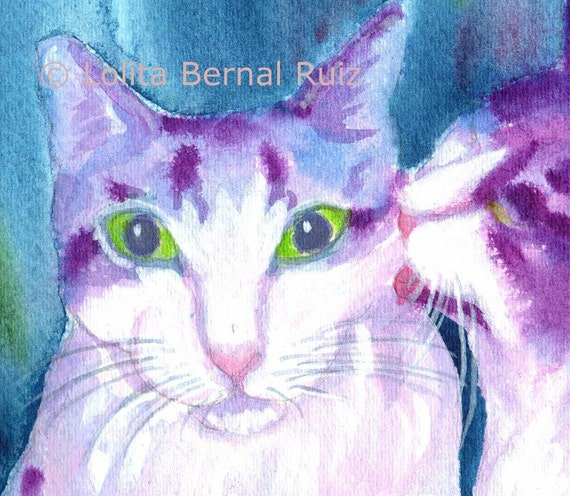 Cats kitty painting print two cats blue violet purple 8x10