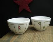 two small holiday bowls, red, white, green Christmas bowls, peppermint candy, gift for her / under 50