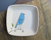 blue bird square tray, small gift for valentine sweetheart