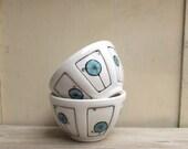 Two small ceramic blue and white bowl with pinwheel circles, wedding gift, spring garden ice cream dish