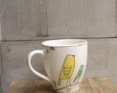 Ceramic yellow bird coffee cup mug, spring garden mother's day gift, easter