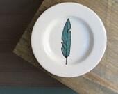 Ceramic blue feather plate, bluebird tribal feather dessert plate, woodland cabin home decor