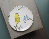 Yellow and blue bird plate, small ceramic spring plate for dessert, mama and baby bird plate baby shower, mother's day gift