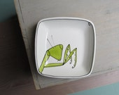 Ceramic green praying mantis insect tray,  quirky funny garden insect dish, Father's day gift