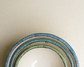 Three nesting ceramic stripe bowls blue, green and teal, summer home decor gift for her, wedding gift for bride and groom