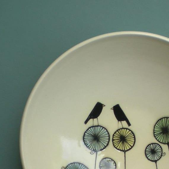 SALE Bird bowl with pinwheels