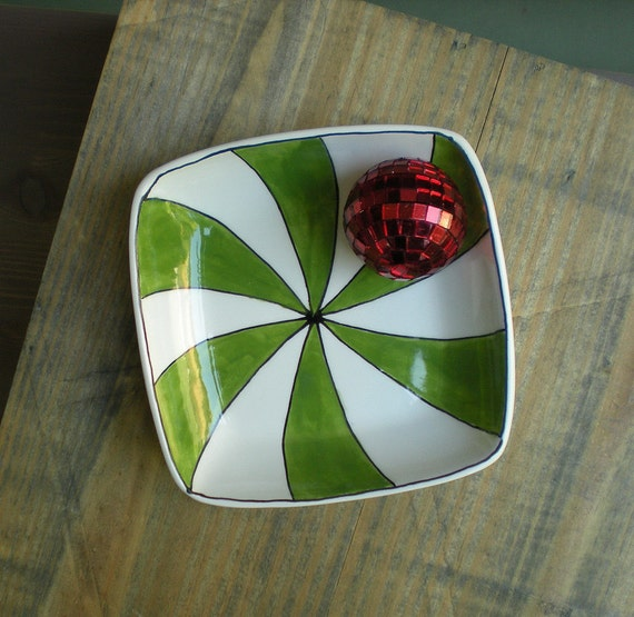 small holiday green peppermint tray, seasonal candy dish, christmas decor for home