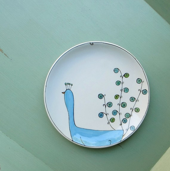 Large ceramic blue peacock plate, spring garden plate