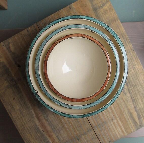 Three nesting bowls blue and orange, geometric stripe bowl, wedding gift, home decor gift for mom