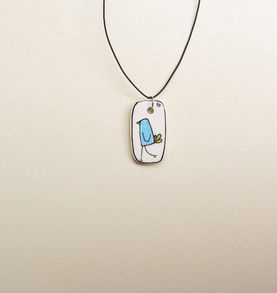 Blue bird necklace pendant, bluebird gift for her, spring garden, gardener, mom, gift under 25