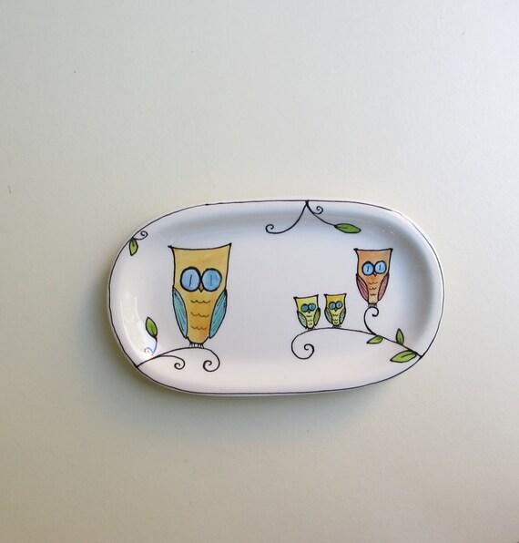 Ceramic orange and blue owl plate, owl plate, fall woodland home decor for him